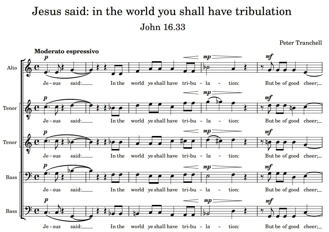 Jesus said: in the world you shall have tribulation