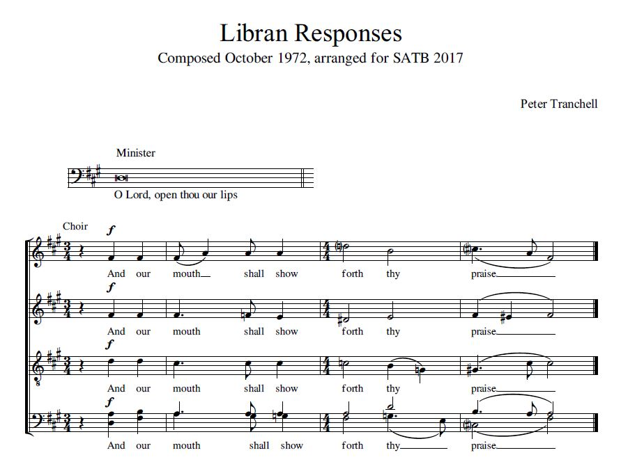Preview of Tranchell Libran Responses SATB version in A major