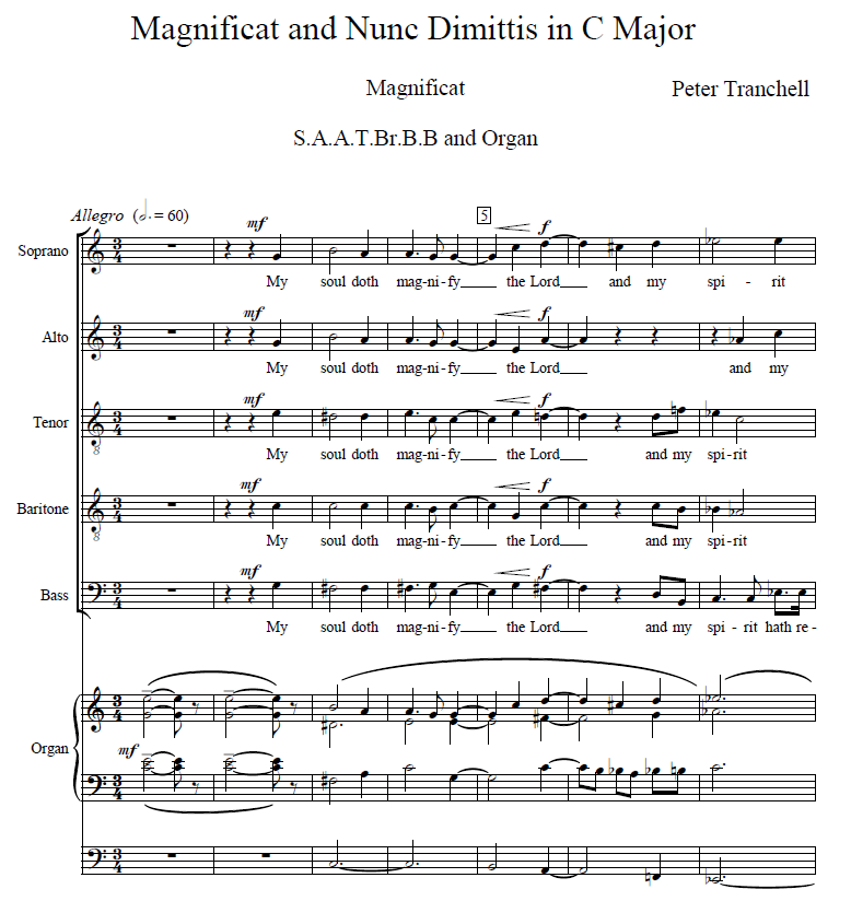 Magnificat and Nunc Dimittis in C score preview