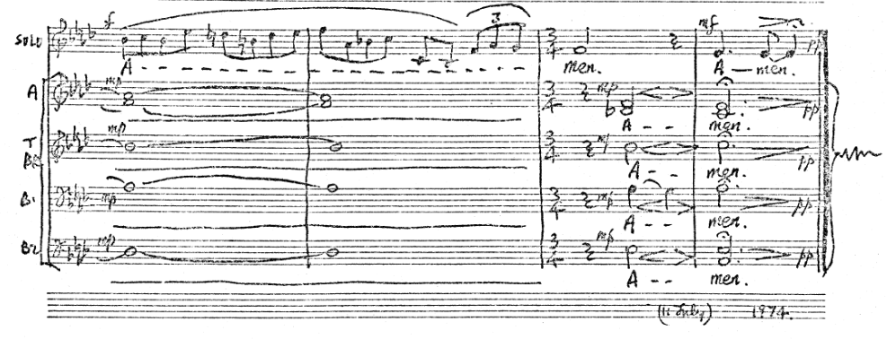 Tranchell Magnificat Tone 8 extract from original score