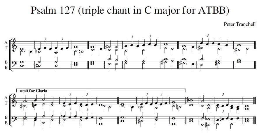 Peter Tranchell Psalm 127 triple chant in C major