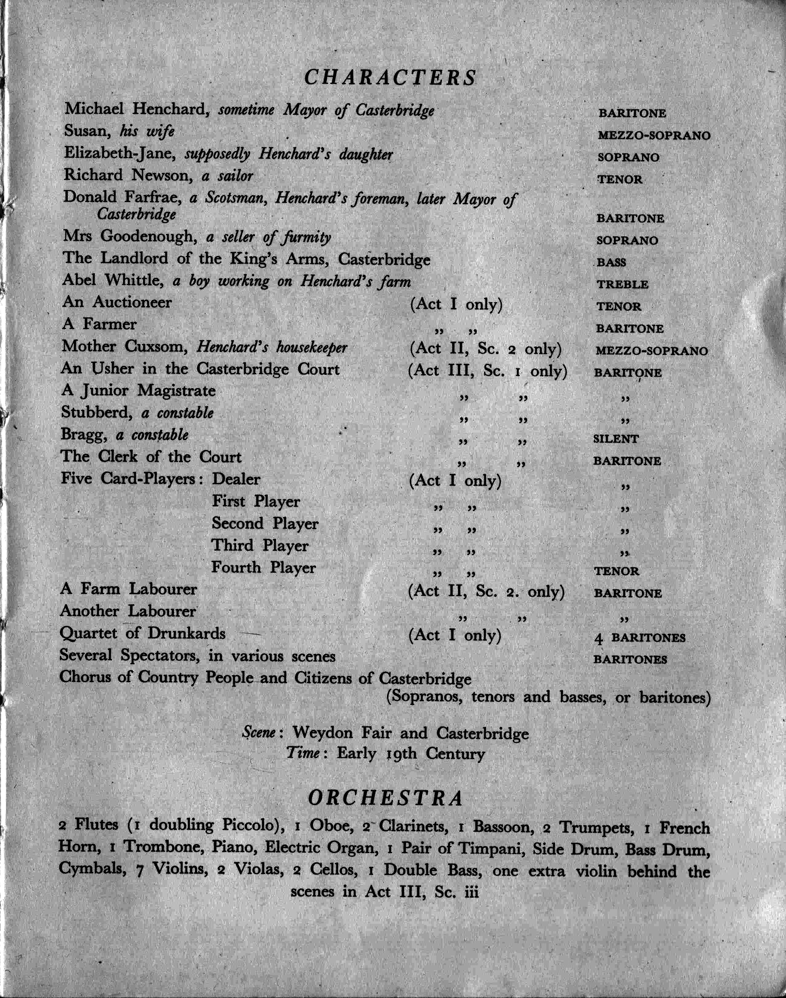 List of characters from the vocal score of The Mayor of Casterbridge, original edition, 1951
