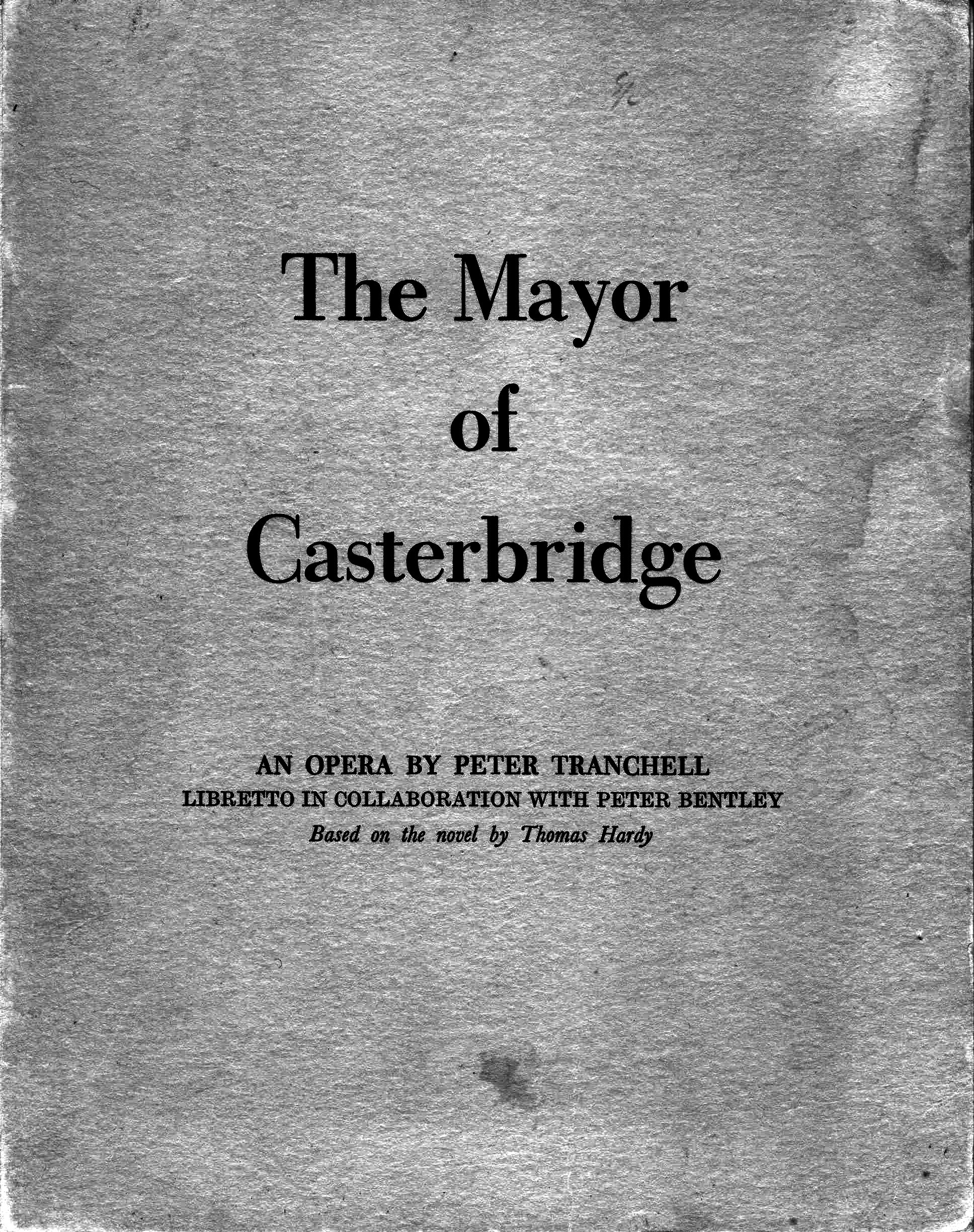 Front cover of the vocal score of The Mayor of Casterbridge, original edition, 1951