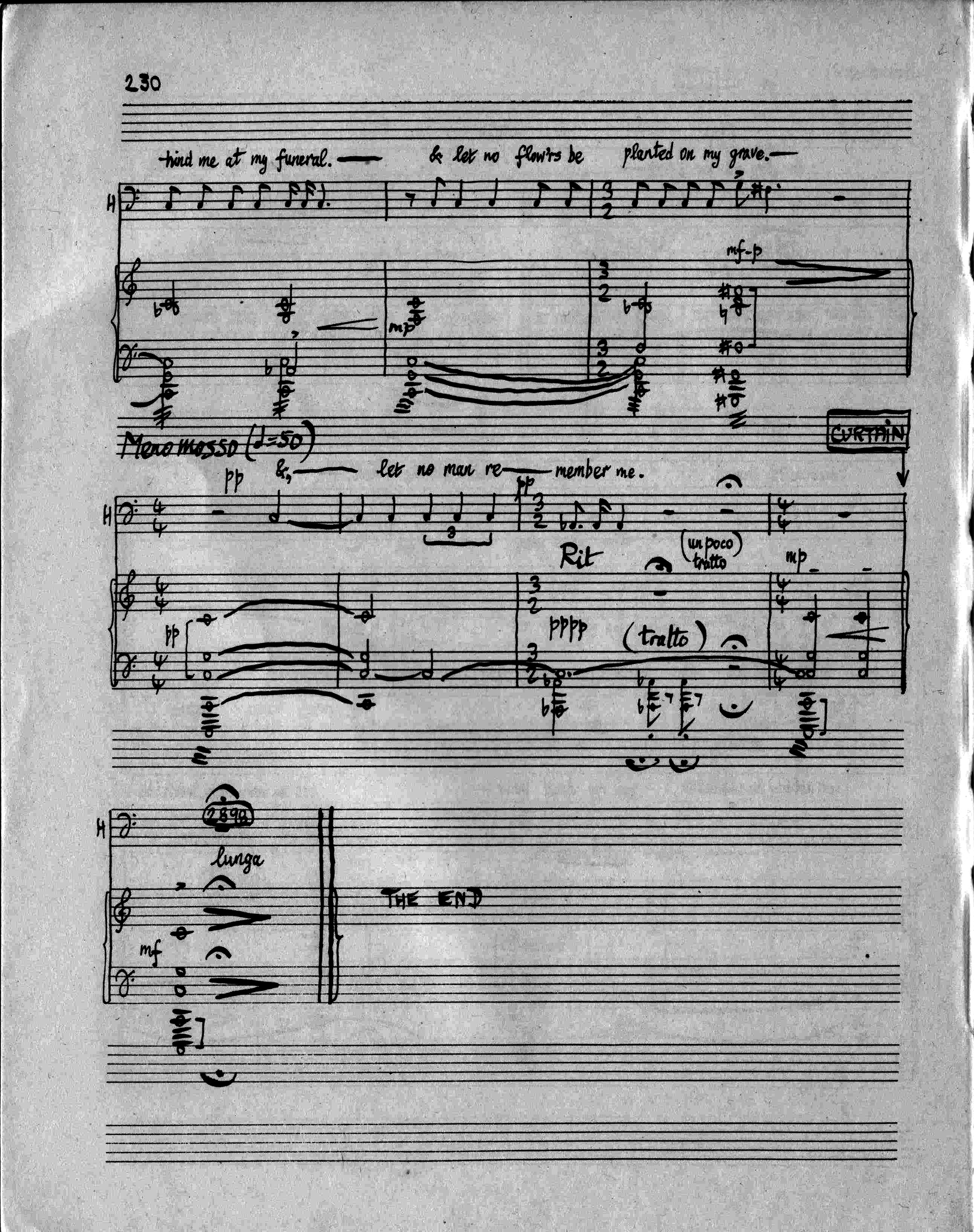 The final bars of the vocal score of The Mayor of Casterbridge, original edition, 1951