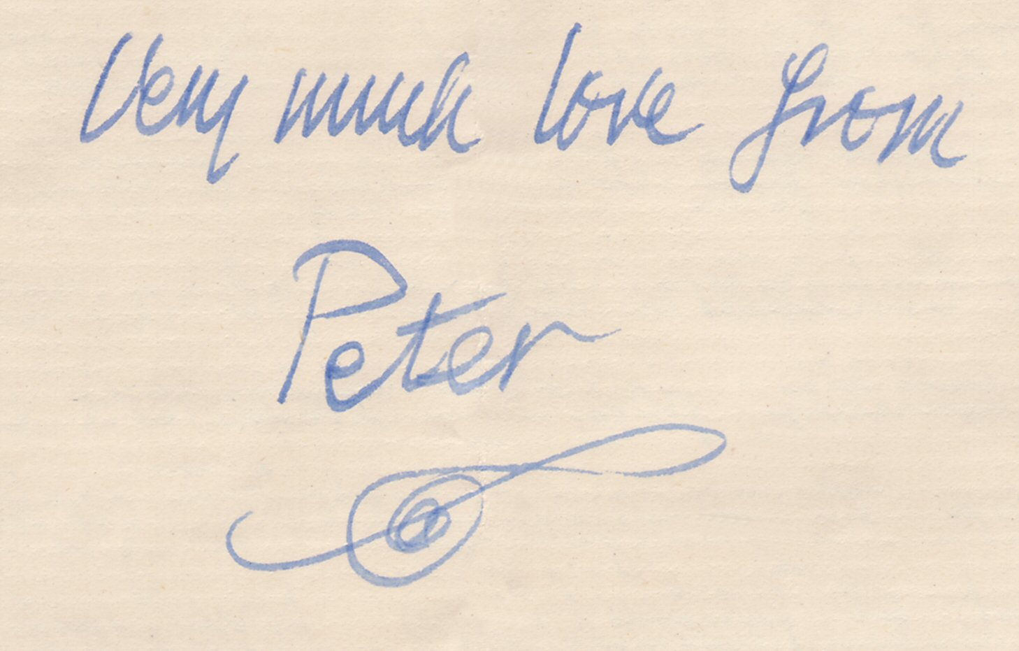 Peter Tranchell's signature and characteristic horizontal treble clef, from a family letter
