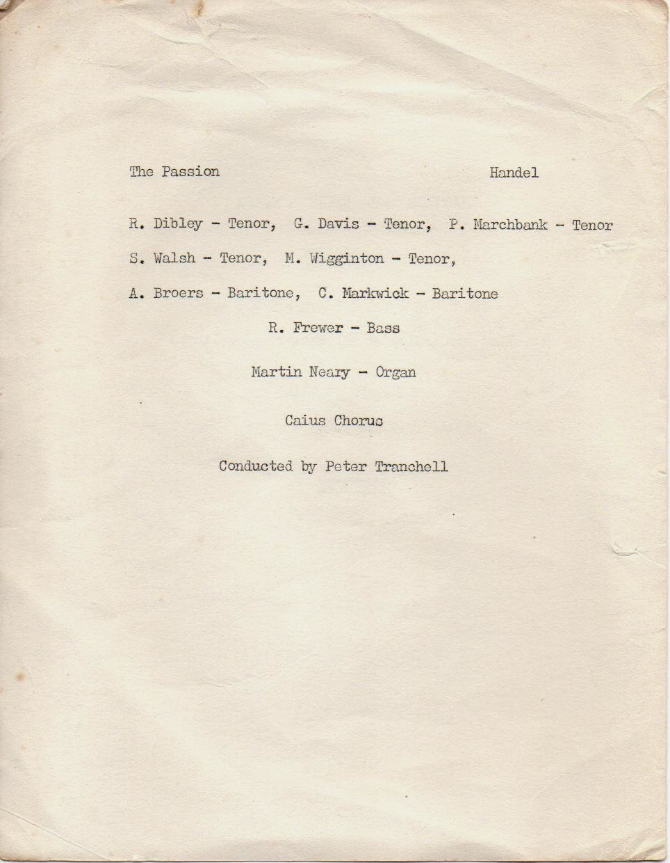 Programme for GONVILLE AND CAIUS COLLEGE LENT TERM CONCERT 1962 page 2