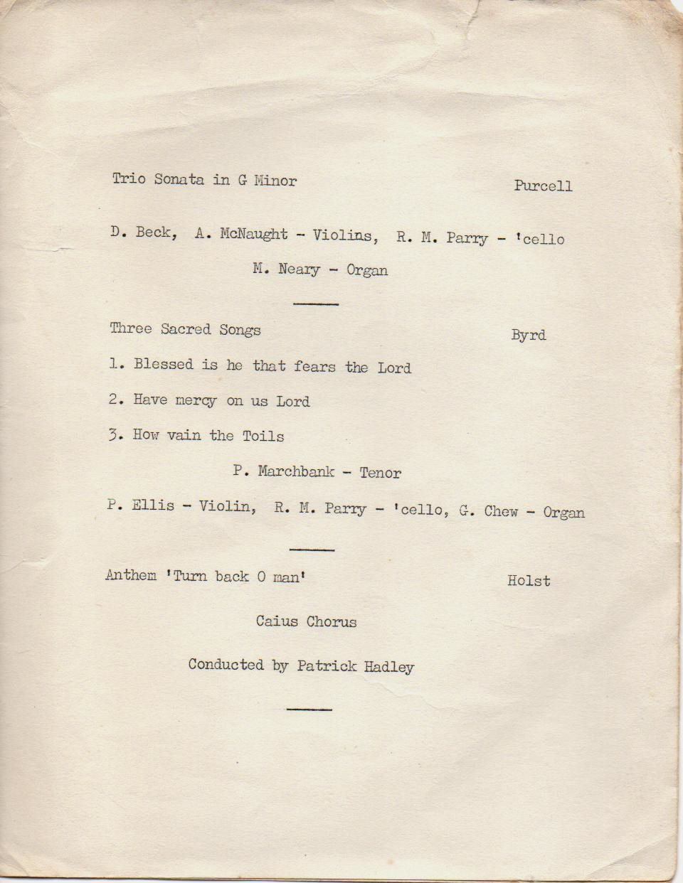 Programme for GONVILLE AND CAIUS COLLEGE LENT TERM CONCERT 1962 page 3