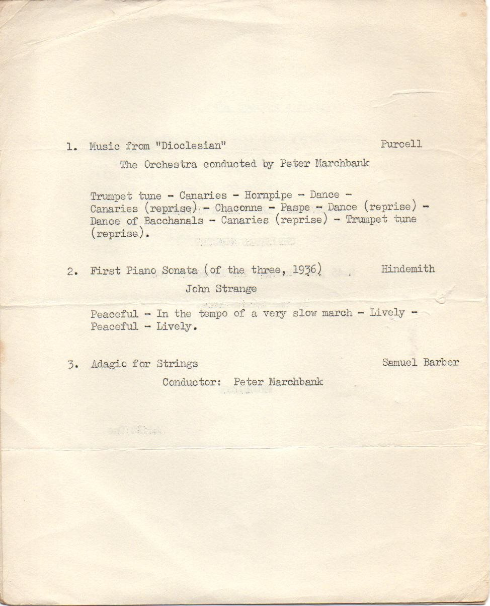 Gonville and Caius College Christmas Concert 2nd December 1963 page 2
