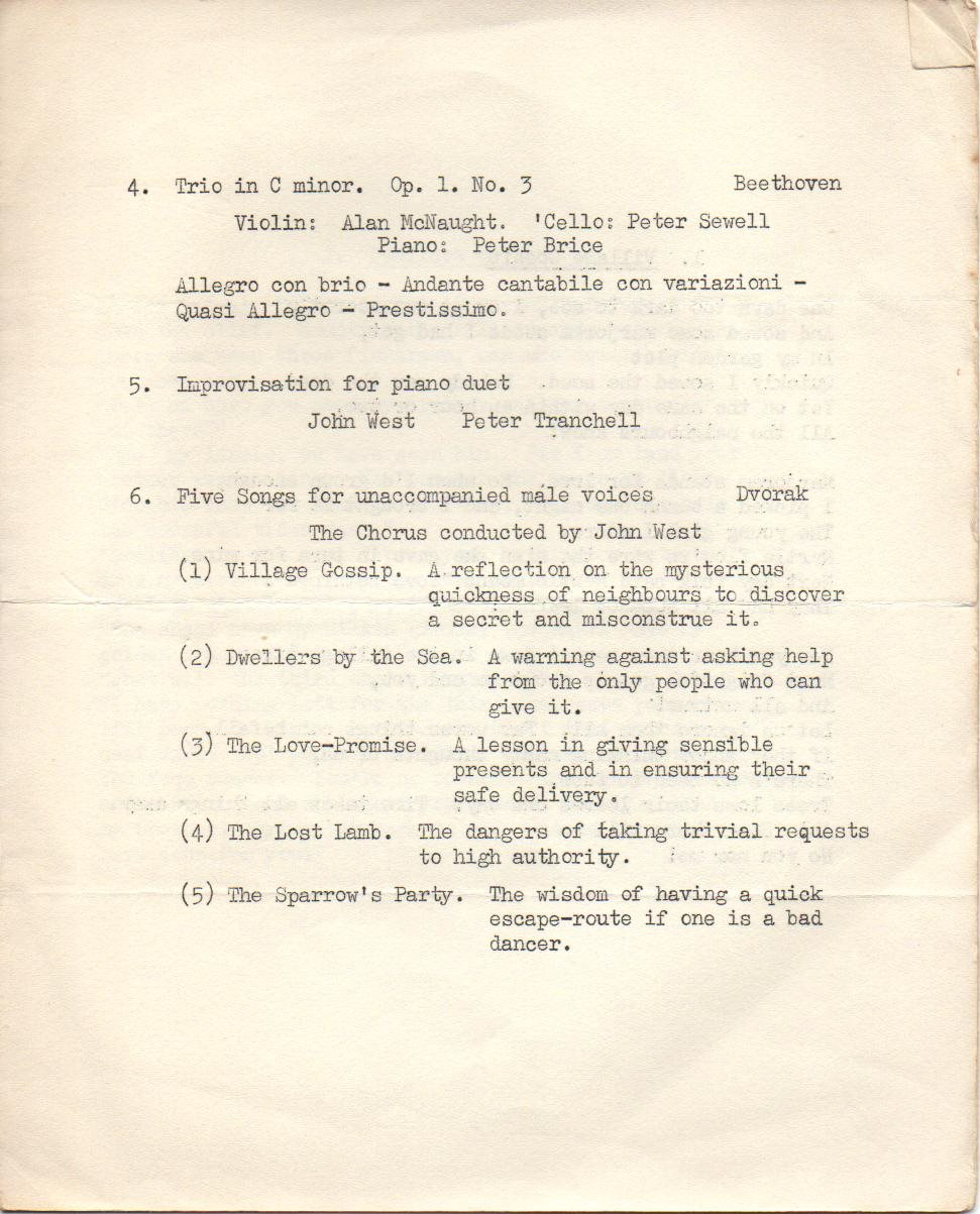 Gonville and Caius College Christmas Concert 2nd December 1963 page 3