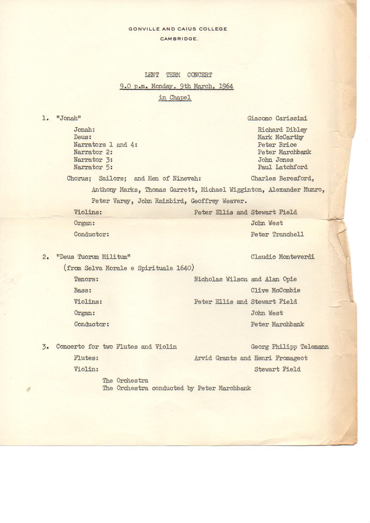 GONVILLE AND CAIUS COLLEGE 1964 LENT TERM CONCERT programme
