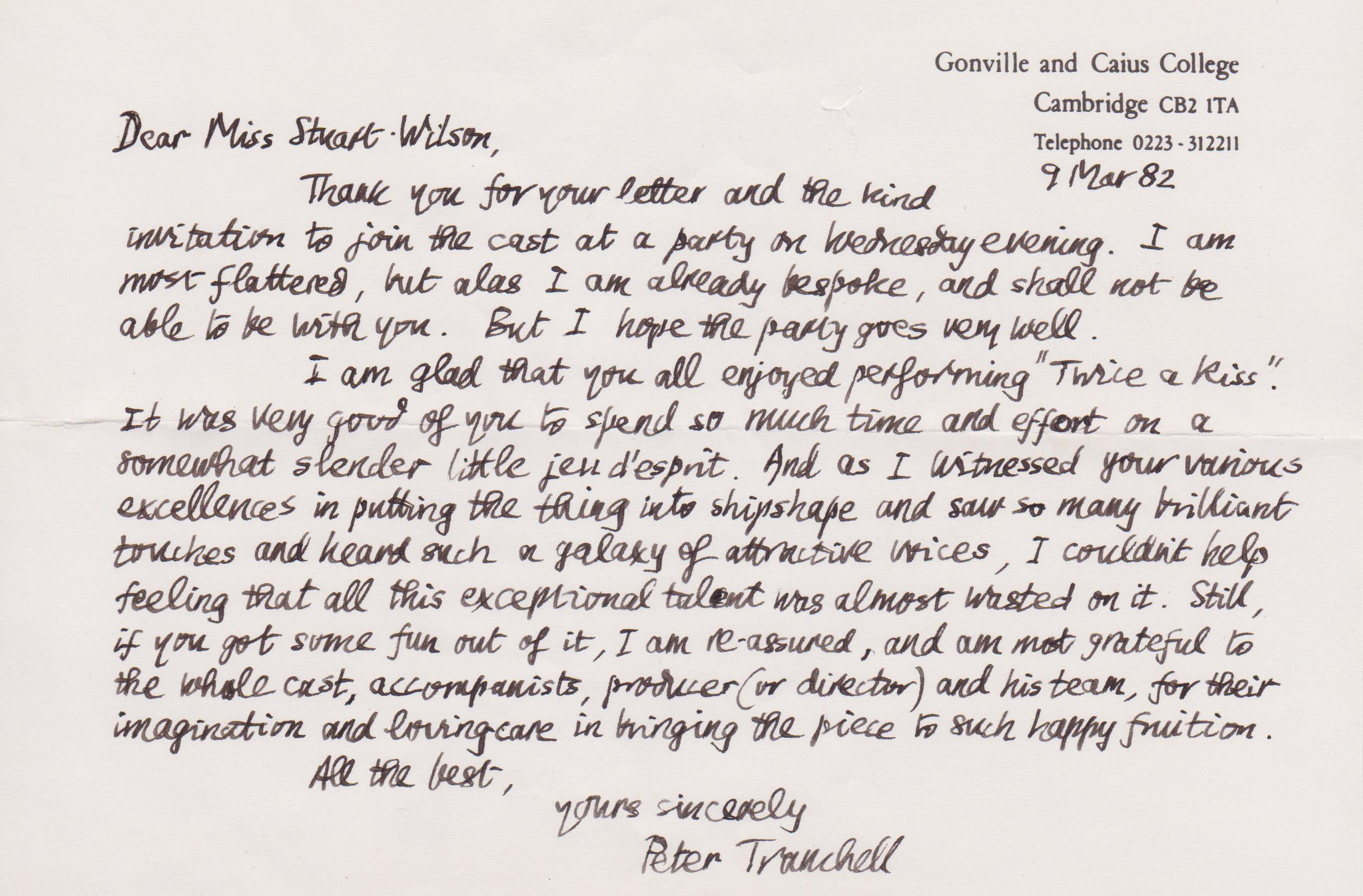 Letter from Peter Tranchell to Fiona Stuart-Wilson following the performance of Twice A Kiss at the Cambridge ADC in 1982